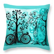 Bicycle In Whimsical Forest Throw Pillow