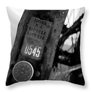 Bicycle License Throw Pillow