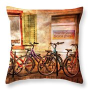 Bicycle Line-up Throw Pillow
