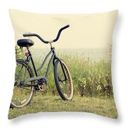 Bicycle On Beach Summer's On The Coast Throw Pillow
