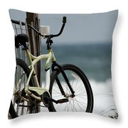 Bicycle On The Beach Throw Pillow by Julie Niemela