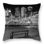 Bicycle On The Plein At Night - The Hague  Throw Pillow