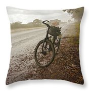 Bicycle On The Road In Botswana Throw Pillow