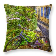 Bicycle On The Square Throw Pillow