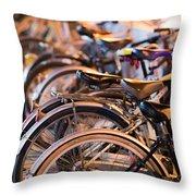 Bicycle Park Throw Pillow