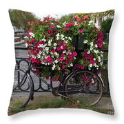 Bicycle Parked At The Bridge In Amsterdam Throw Pillow
