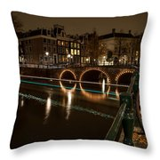 Bicycle Parked At The Canals Throw Pillow