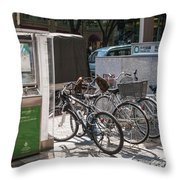 Bicycle Parking And Smoking Station In Tokyo Japan Throw Pillow