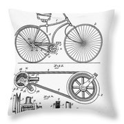 Bicycle Patent 1890 Throw Pillow
