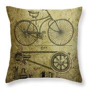 Bicycle Patent  1890 Throw Pillow