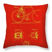 Bicycle Patent Drawing 4c Throw Pillow