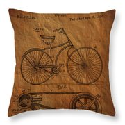 Bicycle Patent From 1890 Throw Pillow