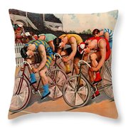 Bicycle Race 1895 Throw Pillow
