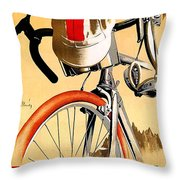 Bicycle Race, Catalonia, Vintage Travel Poster Throw Pillow