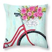 Bicycle Spring Break Throw Pillow