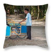 Bicycle Taxi Inside The Coba Ruins  Throw Pillow
