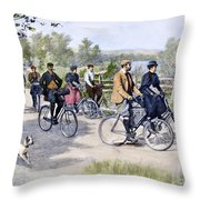 Bicycle Tourists, 1896 Throw Pillow by Granger