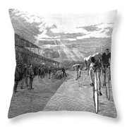 Bicycle Tournament, 1886 Throw Pillow by Granger