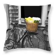 Bicycle With Flower Basket Throw Pillow