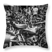 Bicycles Amsterdam Black And White Throw Pillow