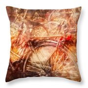 Bicycles In Amsterdam Throw Pillow by Richard Anderson