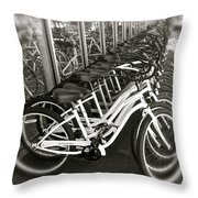 Bicycles In Belmont Shore Throw Pillow