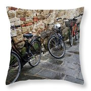 Bicycles In Rome Throw Pillow