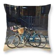 Bicycles On Main Street Throw Pillow