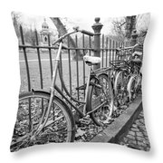 Bicycles Parked At Fence On Street, Netherlands Throw Pillow