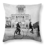 Bicycling, 1880s Throw Pillow by Granger