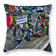 Bicycling For Peace Throw Pillow
