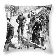 Bicyclist Meeting, 1884 Throw Pillow