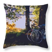 Bicyles By The Lake  Throw Pillow