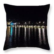 Bideford Long Bridge At Night Throw Pillow