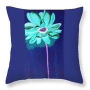 Big Aqua Flower Throw Pillow