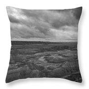 Big Badlands Overlook Panorama 2 Bw Throw Pillow