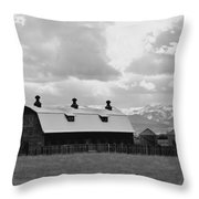 Big Barn In Black And White Throw Pillow