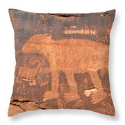 Big Bear Petroglyph Throw Pillow