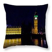Big Ben Along The Thames Throw Pillow