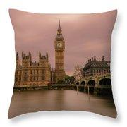 Big Ben And Westminster Bridge, London Throw Pillow