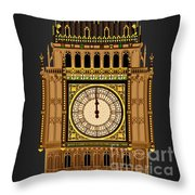Big Ben Striking Midnight Throw Pillow