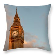 Big Ben Tower With Blue Sky And Some Clouds Throw Pillow