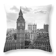 Big Ben With Westminster Abbey Throw Pillow by Joe Winkler