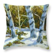 Big Birches In Winter Throw Pillow