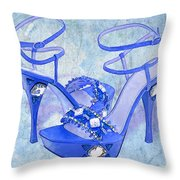 Big Blue Bling  Throw Pillow