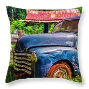 Big Blue Chevy At The Farm Throw Pillow