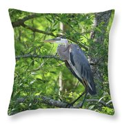 Big Blue In Green Tree Throw Pillow
