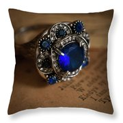Big Blue Ornamented Ring Throw Pillow