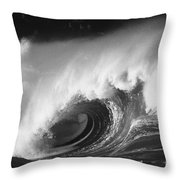 Big Breaking Wave - Bw Throw Pillow