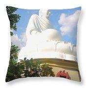 Big Buddha Statue At The Long Son Pagoda In Nha Trang Vietnam Throw Pillow